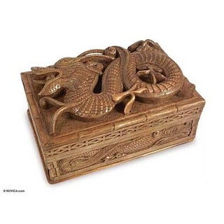 Handmade Walnut Lucky Dragon Jewelry Box (India)