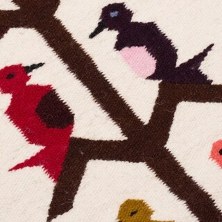 Handwoven Andean Birds on Cream Background Natural Dye Wool Wall Art Tapestry