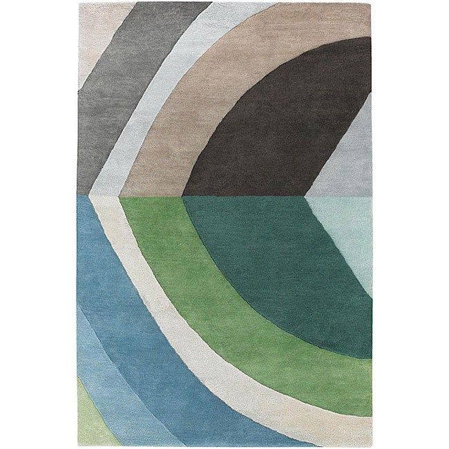 Hand-tufted Mandara Blue/ Green Wool Rug (7'9 x 10'6)