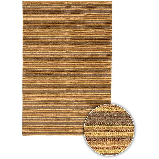 Artist's Loom Hand-woven Contemporary Stripes Rug - 5' x 7'6