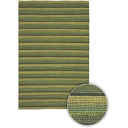 Artist's Loom Hand-woven Contemporary Stripes Rug (5' x 7'6) - Thumbnail 0