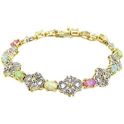 Glitzy Rocks 18k Gold over Silver Opal and Diamond Accent Bracelet