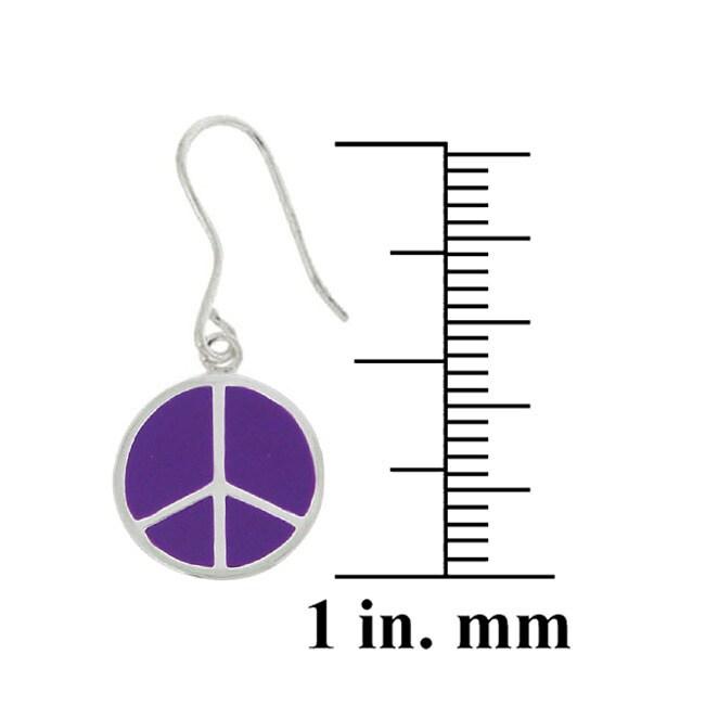 Glitzy Rocks Sterling Silver Purple Enamel Peace Sign Earrings