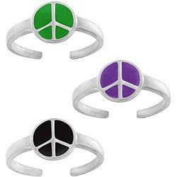 Mondevio Sterling Silver Enamel Peace Sign Toe Ring (Set of 3)