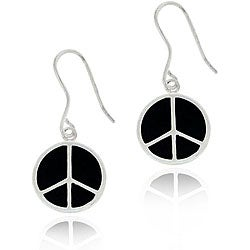 Glitzy Rocks Sterling Silver Black Enamel Peace Sign Earrings