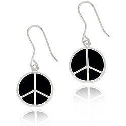 Glitzy Rocks Sterling Silver Black Enamel Peace Sign Earrings