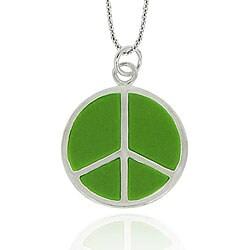 Glitzy Rocks Sterling Silver Green Enamel Peace Sign Necklace