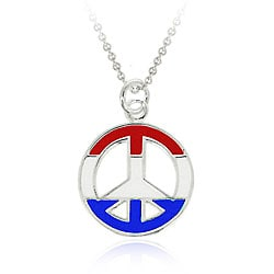 Glitzy Rocks Sterling Silver US Peace Sign Necklace