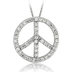 Icz Stonez Sterling Silver CZ Peace Sign Necklace