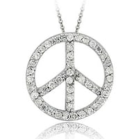 Shop sterling silver cubic zirconia small peace sign pendant icz stonez sterling silver cz peace sign necklace aloadofball Images
