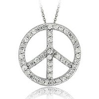 Db designs sterling silver black diamond peace sign necklace icz stonez sterling silver cz peace sign necklace mozeypictures Choice Image