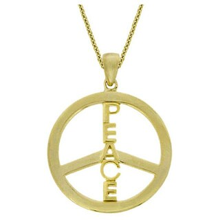Mondevio 18k Gold/ Sterling Silver Peace Sign Necklace