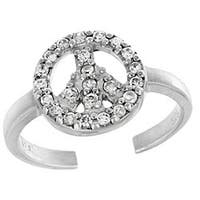Icz Stonez Sterling Silver CZ Peace Sign Toe Ring