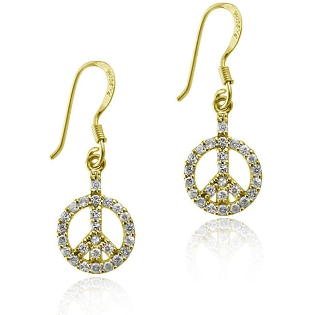 Icz Stonez 18k Gold Sterling Silver Cz Peace Sign Earrings