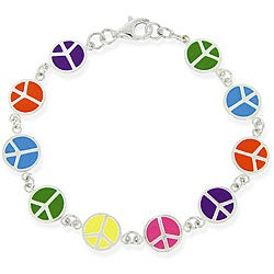 Mondevio Sterling Silver Multicolor Peace Sign Bracelet