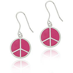 Mondevio Sterling Silver Pink Peace Sign Earrings