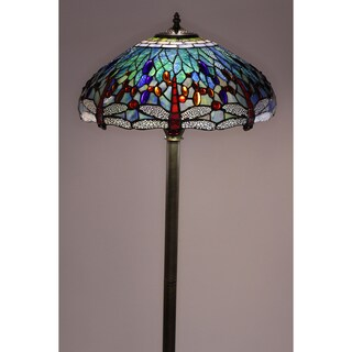 Warehouse of Tiffany Tiffany-style Dragonfly Bronze Finish Floor Lamp