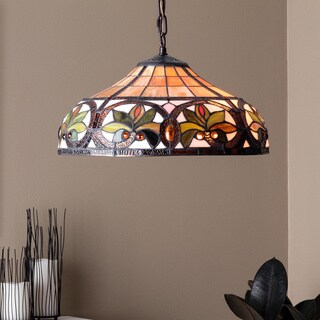 Warehouse of Tiffany Green/Amber/Yellow/White Stained Glass and Copper lTiffany-style Hanging Lamp
