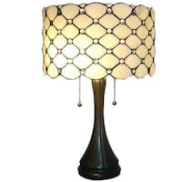 Glass Shade and Bronze-finishedTiffany-style Modern 2-light Table Lamp