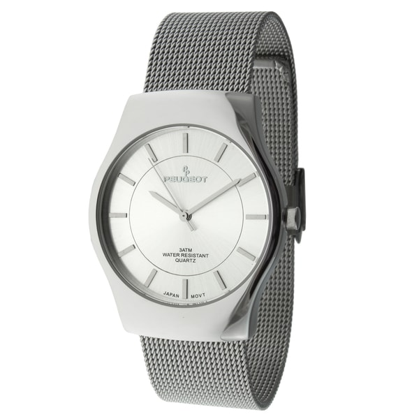 peugeot men's 1002sl silvertone mesh strap watch - free shipping