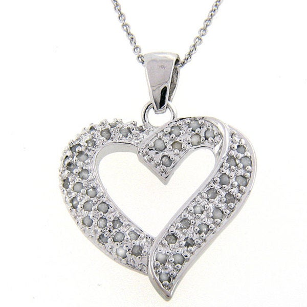 Finesque Sterling Silver 1/2ct TDW Diamond Heart Necklace (J-K, I3)