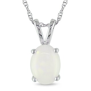 Miadora 10k White Gold Opal Necklace