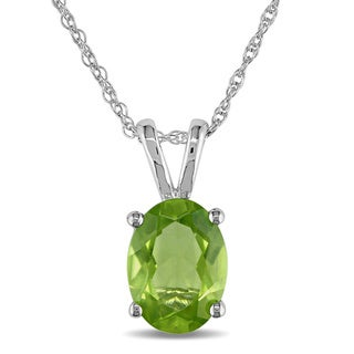 Miadora 10k White Gold Peridot Necklace