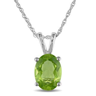 Miadora 10k White Gold Peridot Necklace|https://ak1.ostkcdn.com/images/products/4048673/P12067577.jpg?impolicy=medium