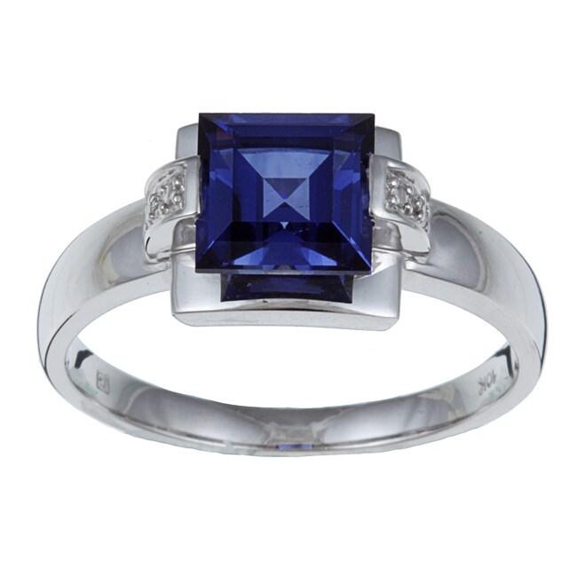 Miadora 10k White Gold Created Tanzanite and Diamond Ring