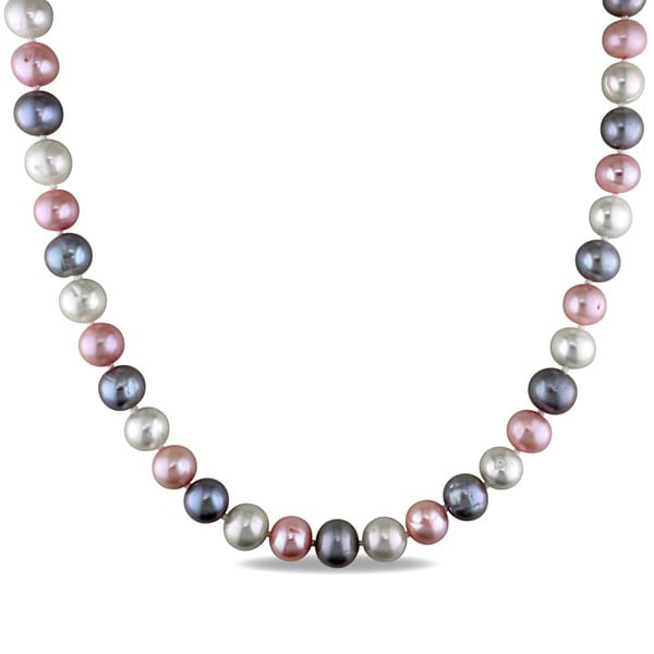 M by Miadora Sterling Silver Multicolor Cultured Freshwater Pearl Necklace (9-10 mm)