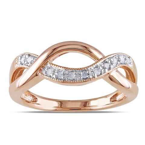 Miadora Sterling Silver 1/10ct TDW Diamond Infinity Ring