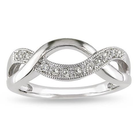 Miadora Sterling Silver 1/10ct TDW Diamond Infinity Ring