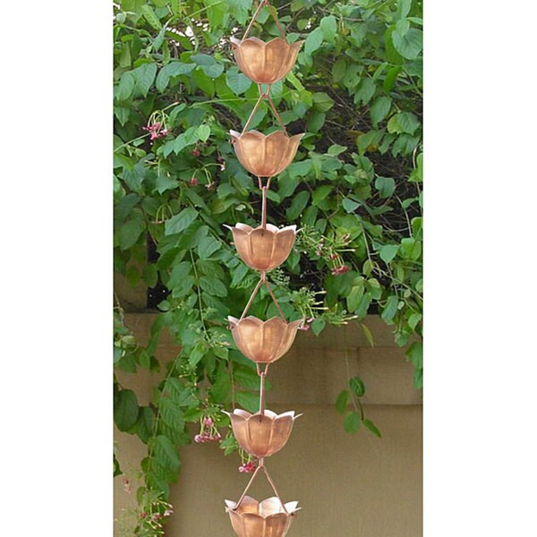 Monarch Pure Copper Lotus Rain Chain 8.5 Ft Inclusive of Installation Hanger