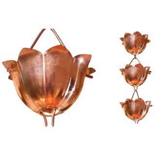 Monarch Pure Copper Lotus Rain Chain 8.5 Ft Inclusive of Installation Hanger
