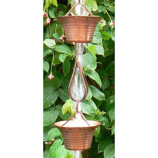 Monarch Pure Copper Mizoko Rain Chain 8.5 Ft Inclusive of Installation Hanger
