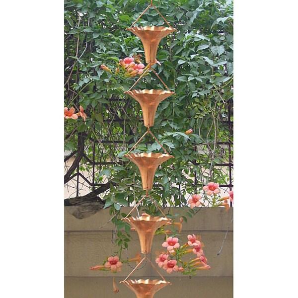 Monarch Pure Copper Angel Blossom Rain Chain Inclusive of Installation Hanger