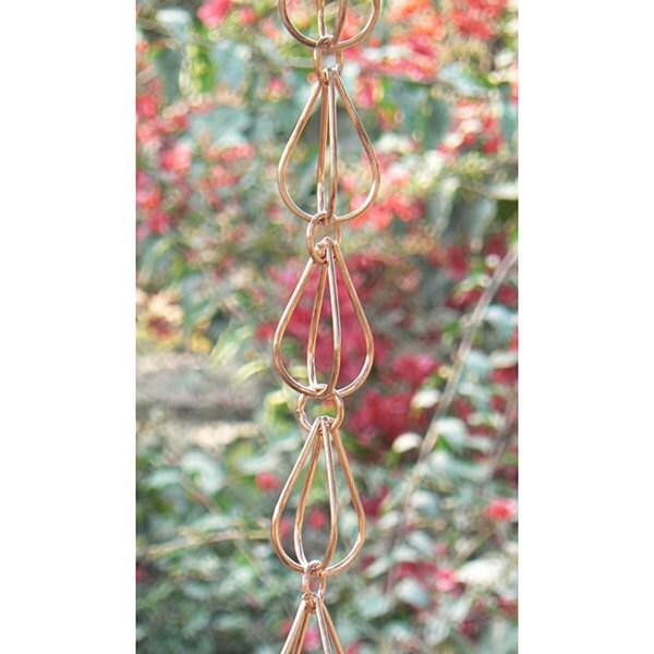 Monarch Pure Copper Teardrop Rain Chain 8.5 Ft Inclusive of Cross Bar For Installation