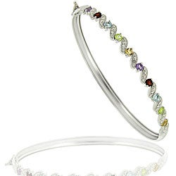 Glitzy Rocks Sterling Silver Multi-gemstone and Diamond Accent Bangle