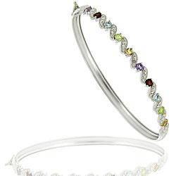 Glitzy Rocks Sterling Silver Multi-gemstone and Diamond Accent Bangle