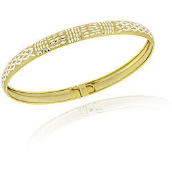 Mondevio 18k Gold over Silver Two-tone Diamond-cut Flex Bangle