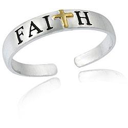 Mondevio Sterling Silver Two-tone Faith Toe Ring