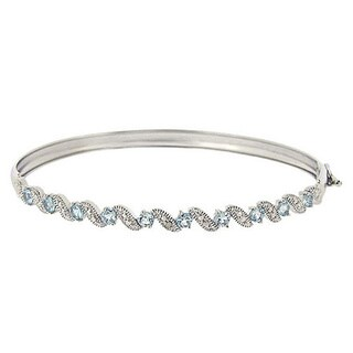 Glitzy Rocks Sterling Silver Blue Topaz and Diamond Accent Bangle