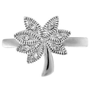 Icz Stonez Sterling Silver Palm Tree Cubic Zirconia Toe Ring