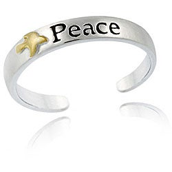 Mondevio Sterling Silver Two-tone 'Peace' Toe Ring