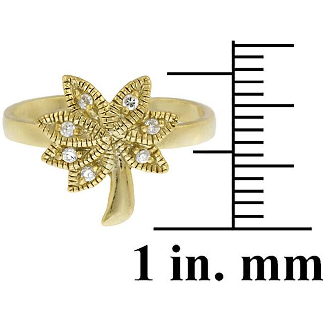 Icz Stonez 18k Gold/ Sterling Silver CZ Palm Tree Toe Ring