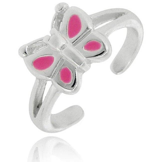 Mondevio Sterling Silver Enamel Butterfly Toe Ring (Set of 3)
