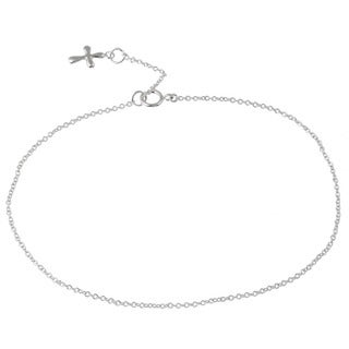 Mondevio Nine-inch Anti-tarnish Sterling Silver Dangling Cross Anklet