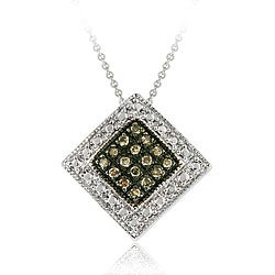 DB Designs Sterling Silver Brown 1/5 ct Diamond Necklace