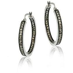 DB Designs Sterling Silver 7/8ct TDW Brown Diamond Hoop Earrings