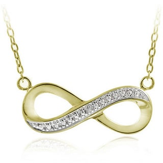 DB Designs Sterling Silver or 18k Yellow Gold over Silver Diamond Accent Infinity Necklace (5 options available)